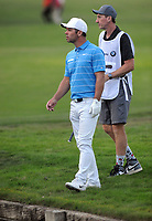 Golf - 2019 BMW PGA Championship - Thursday, First Round<br /> <br /> Paul Casey of England after going in the water at the 18th hole, at the West Course, Wentworth Golf Club.<br /> <br /> COLORSPORT/ANDREW COWIE