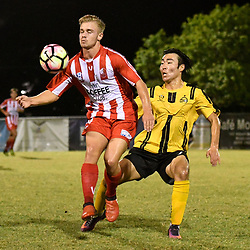BRISBANE, AUSTRALIA - APRIL 13: Matthew Cann controls the ball during the NPL Queensland Senior Men's Round 4 match between Olympic FC and Moreton Bay Jets at Goodwin Park on April 13, 2017 in Brisbane, Australia. (Photo by Patrick Kearney/Olympic FC)