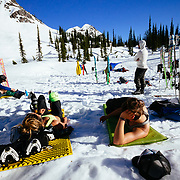 Lounging around basecampe after a long day of skinning and skiing around Glacier National Park.