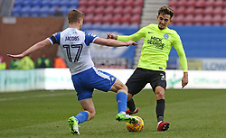 Liam Shephard of Peterborough United in action with Michael Jacobs of Wigan Athletic - Mandatory by-line: Joe Dent/JMP - 13/01/2018 - FOOTBALL - DW Stadium - Wigan, England - Wigan Athletic v Peterborough United - Sky Bet League One