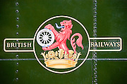 British Railways logo on vintage steam engine at Toddington, Gloucestershire