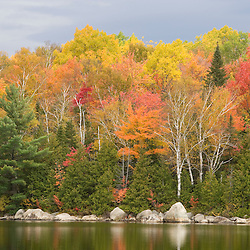 Fall foliage on Katahdin Lake Maine USA