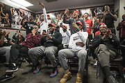 Houston, Texas - March 12, 2017: Coaches Mike Davis, Mike Davis, Jr., player Lamont Walker and coach Donnie Marsh react to their NCAA Tournament placement. The TSU Tigers are headed to the NCAA Tournament after beating Alcorn State in the SWAC conference Tournament. (Michael Starghill, Jr. for The Undefeated)
