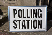 Polling Station sign outside the local government polling station in Wadebridge, North Cornwall, United Kingdom.