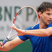 PARIS, FRANCE May 26. Dominic Thiem of Austria during practice on Court Suzanne Lenglen in preparation for the 2021 French Open Tennis Tournament at Roland Garros on May 2pm 6th 2021 in Paris, France. (Photo by Tim Clayton/Corbis via Getty Images)
