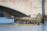 Mortlake, Greater London. 11th December 2019, Oxford Women's University Trial Eights, named, Morley and Brown,  Morely: [White Sleeves], and Brown under Chiswick Bridge after the Trail won by Morely , Putney to Mortlake, River Thames, [Mandatary Credit: Peter SPURRIER/Intersport Images],<br /> <br /> Morely: Cox: Costanza Levy, Stroke: Amelia Standing, 7: Tina Christmann, 6: Georgina Grant 5: Martha Birtles, 4: Fijnanda van Klingeren, 3: Emily Davenport, 2: Hazel Wake, Bow: Hannah Morrisey,<br /> <br /> <br /> Brown: Cox: Michael Hobley, Stroke: Isobel Dodds, 7: Lucy Gillbanks, 6: Katie Anderson, 5: Katherine Maitland, 4: Renée Koolschijn<br />  3: Kaitlyn Dennis, 2: Megan Hanson, Bow: Elsebine Bolier,
