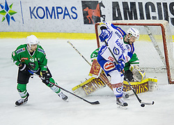 Maks Selan (HDD Olimpija), Jan Urbas (EC VSV), Jeff Frazee (HDD Olimpija) during ice-hockey match between HDD Olimpija Ljubljana and EC VSV in EBEL League 2016/17, on February 19, 2017 in Hala Tivoli, Ljubljana, Slovenia. Photo by Vid Ponikvar / Sportida