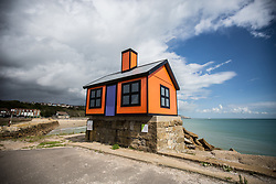 "@Licensed to London News Pictures 31/08/2017 Folkestone, Kent. ""Holiday Home"" by artist Richard Woods one of six ""homes"" displayed around Folkestone, Kent.  Folkestone Triennial is the flagship project of the Creative Foundation, an independant arts charity enabling the regeneration of the seaside town of Folkestone in Kent through creative activity. Photo credit: Manu Palomeque/LNP"