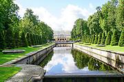 Peterhof Palace gardens in summer located near Saint Petersburg,