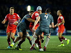 Harry Wells of Leicester Tigers under pressure from  Nick Williams of Cardiff Blues<br /> <br /> Photographer Simon King/Replay Images<br /> <br /> European Rugby Challenge Cup Round 2 - Cardiff Blues v Leicester Tigers - Saturday 23rd November 2019 - Cardiff Arms Park - Cardiff<br /> <br /> World Copyright © Replay Images . All rights reserved. info@replayimages.co.uk - http://replayimages.co.uk