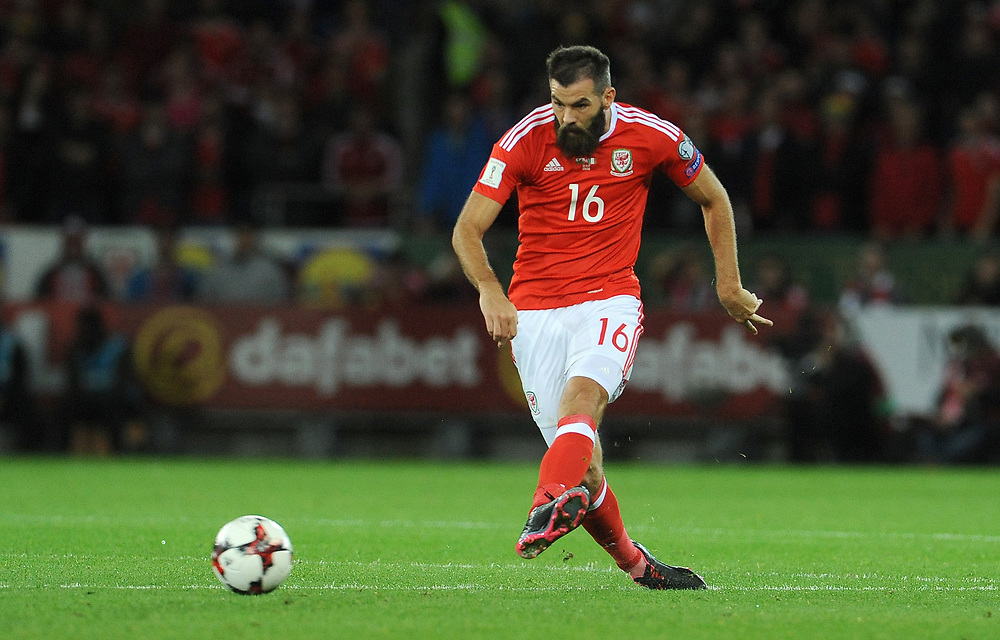 Wales'  Joe Ledley<br /> <br /> Photographer Ian Cook/CameraSport<br /> <br /> FIFA World Cup Qualifying - European Region - Group D - Wales v Republic of Ireland - Monday 9th October 2017 - Cardiff City Stadium - Cardiff<br /> <br /> World Copyright © 2017 CameraSport. All rights reserved. 43 Linden Ave. Countesthorpe. Leicester. England. LE8 5PG - Tel: +44 (0) 116 277 4147 - admin@camerasport.com - www.camerasport.com