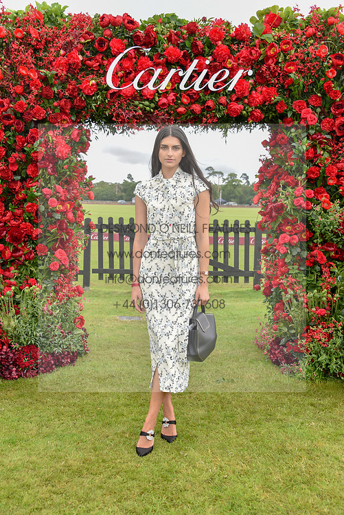 Saffron Vadher at the Cartier Queen's Cup Polo 2019 held at Guards Polo Club, Windsor, Berkshire. UK 16 June 2019 - <br /> <br /> Photo by Dominic O'Neill/Desmond O'Neill Features Ltd.  +44(0)7092 235465  www.donfeatures.com