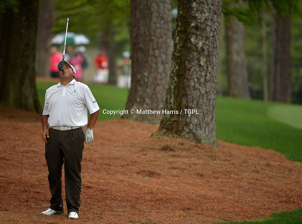 Angel CABRERA (ARG) reacts to 2nd shot at 13th par 5 during fourth round,US Masters 2013,Augusta National,Augusta,Georgia,USA.