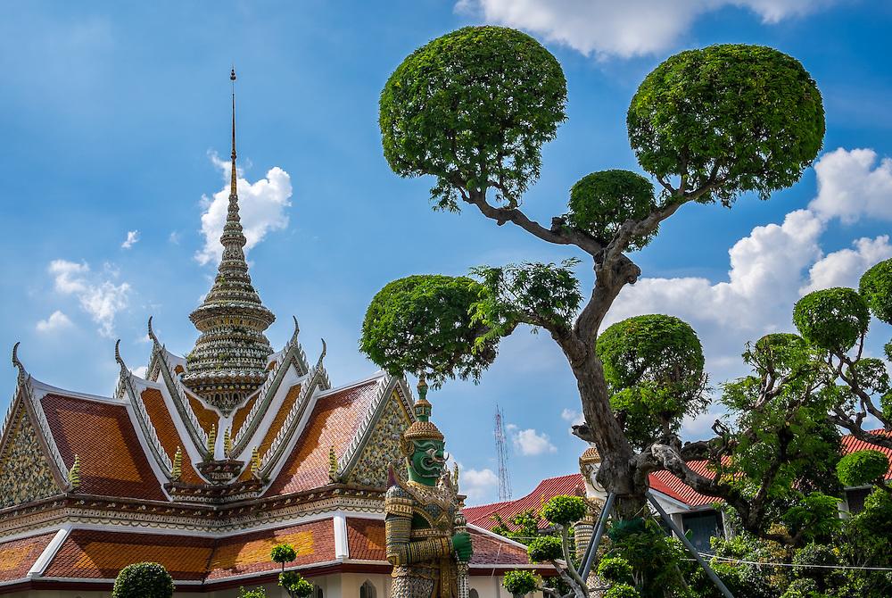 BANGKOK, THAILAND - CIRCA SEPTEMBER 2014: Exterior photo of Wat Arun, a  popular Buddhist temple in Bangkok Yai district of Bangkok, Thailand, on the Thonburi west bank of the Chao Phraya River