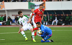 Republic of Ireland's Sean Maguire (left) in action during the UEFA Euro 2020 Qualifying, Group D match at the Victoria Stadium, Gibraltar.