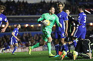 Birmingham City goalkeeper Tomasz Kuszczak (29) claims the ball during the EFL Sky Bet Championship match between Birmingham City and Brighton and Hove Albion at St Andrews, Birmingham, England on 17 December 2016.