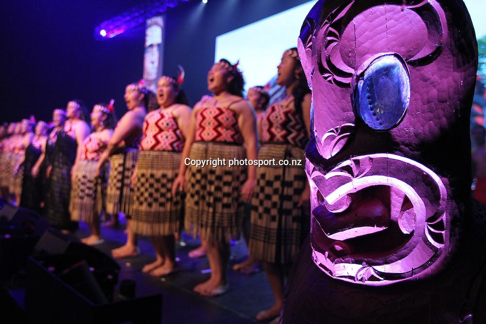 Waka Huia perform during New Zealand's major international tourism trade show. TRENZ Welcome Function. Viaduct Events Centre, Auckland, New Zealand. Sunday 21 April 2013. Photo: Fiona Goodall / Photosport.co.nz