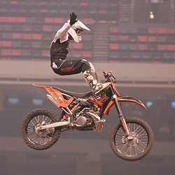 14 March 2009: A member of the Jagermeister Freestyle team performs prior to the Main Event of the Monster Energy AMA Supercross race at the Louisiana Superdome in New Orleans, Louisiana