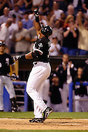 CHICAGO - JULY 25:  Frank Thomas #35 of Chicago White Sox celebrates after hitting his 400th career home run against the Tampa Bay Devil Rays in the 5th inning on July 25, 2003 at U.S. Cellular Field in Chicago, Illinois.  (Photo by Ron Vesely)