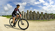 Cyclist riding past the ValuJet Memorial on Everglades levee
