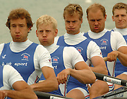 FISA World Cup Rowing Munich Germany..27/05/2004..Thursday morning opening heats...GBR M8+. left to right, Josh West, Andrew Hodge, Jonno Devlin, Dan Ouseley and Robin Bourne Taylor. [Mandatory Credit: Peter Spurrier: Intersport Images].