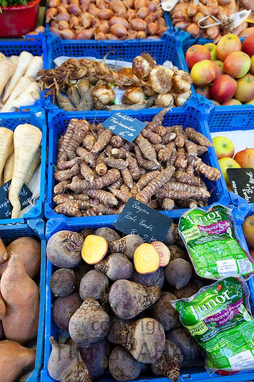 Fresh vegetables on sale at Viktualienmarkt food market in Munich, Bavaria, Germany