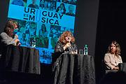 20210607 / URUGUAY / MONTEVIDEO /          Conferencia de prensa de Uruguay es Música en La Trastienda. En la foto: Danilo Astori Sueiro (La Trastienda), Lea Bensasson (Glamity) y Verónica Piana (Majareta producciones). Foto: Ricardo Antúnez / adhocFOTOS