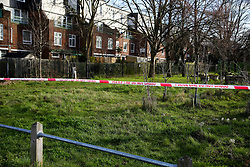 © Licensed to London News Pictures. 18/02/2021. London, UK. Police tape at a crime scene on Jarrow Road in Tottenham, north London after a fatal stabbing of a man. Police were called to Jarrow Road, N17 at 7:21pm on Wednesday, 17 February after concerns were raised about an injured man who was unresponsive inside a vehicle. Officers attended with paramedics from the London Ambulance Service and the London Air Ambulance and found a man believed to be in his 30s with an injury consistent with having been stabbed. Despite efforts by emergency services he was sadly pronounced dead at the scene a short while later. Photo credit: Dinendra Haria/LNP