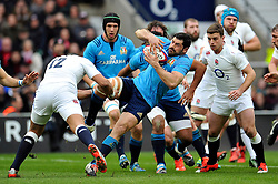 Andrea Masi of Italy is tackled in possession - Photo mandatory by-line: Patrick Khachfe/JMP - Mobile: 07966 386802 14/02/2015 - SPORT - RUGBY UNION - London - Twickenham Stadium - England v Italy - Six Nations Championship