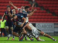 Rugby Union - 2020 / 2021 Gallagher Premiership - Bristol Bears vs Bath - Ashton Gate<br /> <br /> Bath Rugby's Josh Bayliss protests as Bristol Bears' Henry Purdy attacks.<br /> <br /> COLORSPORT