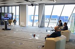 Tamara Zidansek, Gregor Krusic, David Kastelic and Andrej Krasevec during press conference of Tenis Slovenija when presented WTA Portoroz 2021 tournament, on February 18, 2021 in Kristalna palaca, Ljubljana, Slovenia. Photo by Vid Ponikvar / Sportida