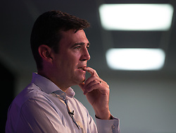 © Licensed to London News Pictures  . 05/09/2015 . Manchester , UK . ANDY BURNHAM listens to questions at a rally for his campaign to be the next leader of the Labour Party , at Kings House Conference Centre in Manchester . Photo credit: Joel Goodman/LNP
