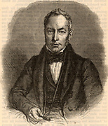 Robert Brown (1773-1858) Scottish botanist, born at Montrose, Scotland. Botanist on the Flinders expedition to Australia (1801-1805).  Librarian to Sir Joseph Banks and on Banks's death he inherited his library and herbarium which was transferred to the British Museum where Brown became first Keeper of the Botany Department.  Engraving c1880.
