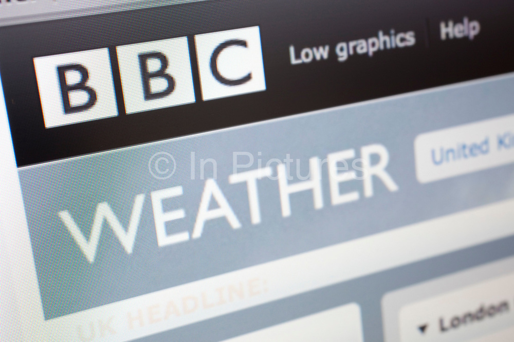 Computer screen showing the website for BBC Weather