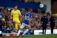 Chelsea defender Marcos Alonso  and Everton forward Richarlison (30) during the Premier League match between Everton and Chelsea at Goodison Park, Liverpool, England on 17 March 2019.