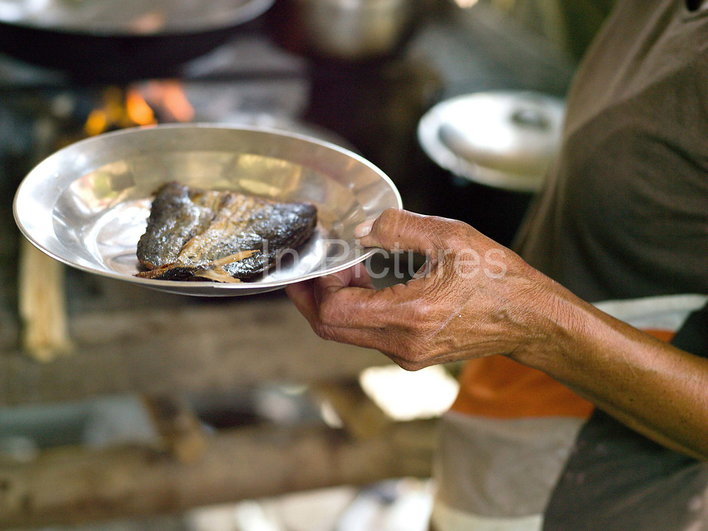 Vegetable and rice farmer, Teodora Ayson cooking fish for lunch, Pamantingan, Esperanza, Sultan Kudarat province, Mindanao Island, The Philippines.