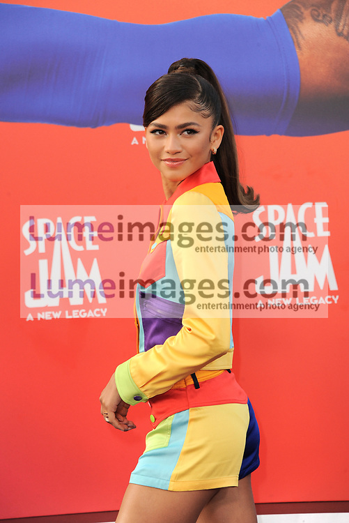Zendaya at the Los Angeles premiere of 'Space Jam: A New Legacy' held at the Regal LA Live in Los Angeles on July 12, 2021.
