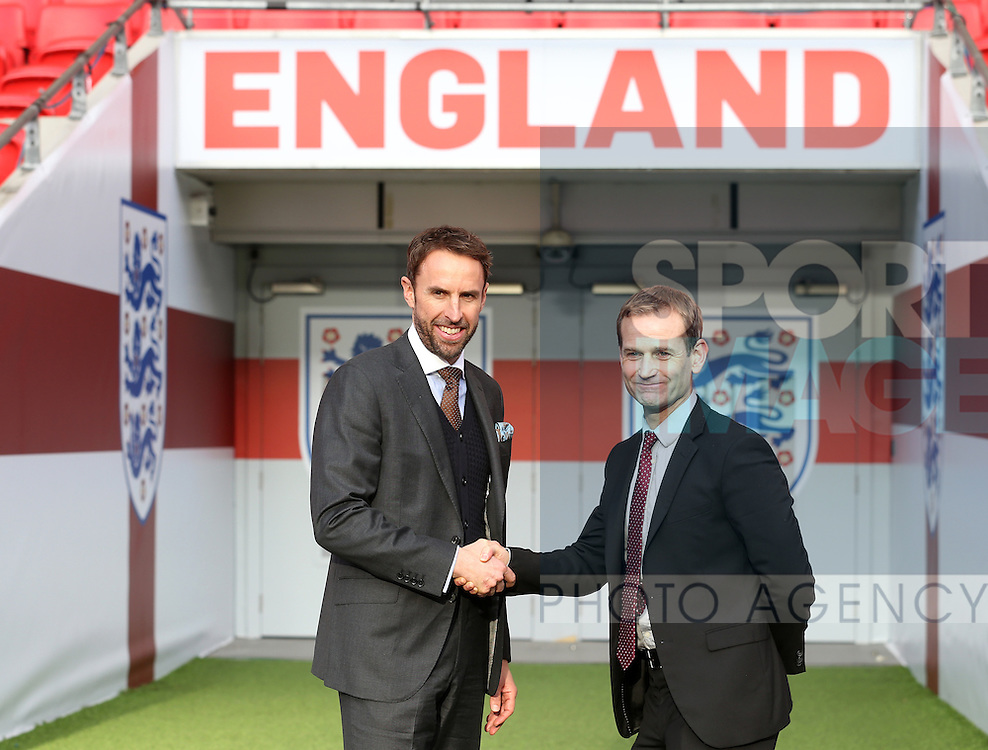 England Gareth Southgate with Dan Ashworth during his press conference at Wembley Stadium, London. Picture date December 1st, 2016 Pic David Klein/Sportimage