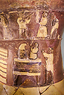 """Hüseyindede vases, Old Hittite Polychrome Relief vessel. Top frieze depictis a procession of musicians and dancers, second frieze down depicts two figure on a """"throne bed"""" performing a ritual, 16th century BC. Huseyindede. Çorum Archaeological Museum, Corum, Turkey .<br /> <br /> If you prefer to buy from our ALAMY STOCK LIBRARY page at https://www.alamy.com/portfolio/paul-williams-funkystock/hittite-art-antiquities.html  - Huseyindede into the LOWER SEARCH WITHIN GALLERY box. Refine search by adding background colour, place, museum etc<br /> <br /> Visit our HITTITE PHOTO COLLECTIONS for more photos to download or buy as wall art prints https://funkystock.photoshelter.com/gallery-collection/The-Hittites-Art-Artefacts-Antiquities-Historic-Sites-Pictures-Images-of/C0000NUBSMhSc3Oo"""