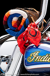 Brian Klock's 2014 Indian Chieftain, Vicla style bike.  Photographed by Michael Lichter in Sturgis, SD. August 3, 2021. ©2021 Michael Lichter