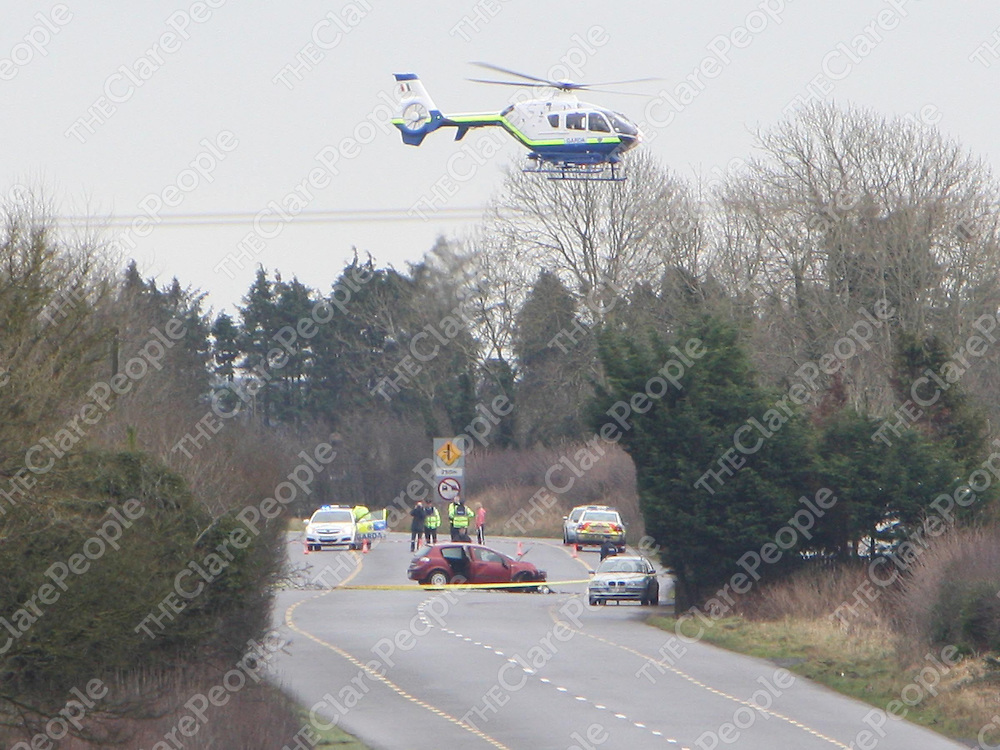 2/2/2008<br />The scene on the N7 on Saturday morning between Roscrea, Co. Tipperary and Borris-on-Ossory , Co. Laois with the Garda helicopter overhead where 4 people were killed and one seriously injured when two cars were involved in a head on collision.<br />Picture: Liam Burke/Press 22