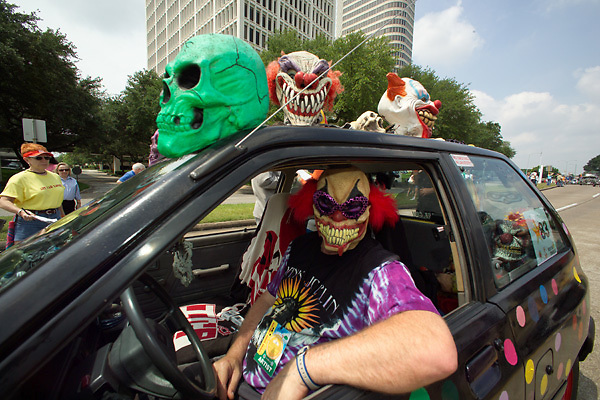 Stock photo of a scary themed car with skulls