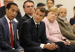 """Joko Widodo (Indonesia's President), Emmanuel Macron (French President), Jair Bolsonaro (Brazil's President), Angela Merkel (German Chancellor) and Narendra Modi (India's Prime Minister) - Side event organized by the Japanese Prime Minister, on the theme """"Promoting the place of women at work"""" at the Intex Osaka congress center at the G20 summit in Osaka, Japan, on June 29, 2019. Photo by Dominque Jacovides/Pool/ABACAPRESS.COM"""