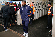 Wimbledon defender Adedeji Oshilaja (4) arrives during the EFL Sky Bet League 1 match between Coventry City and AFC Wimbledon at the Ricoh Arena, Coventry, England on 12 January 2019.