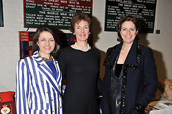 Left to right, ANNIE BREWSTER, VICTORIA PARKER and MINNIE CECIL at a reception to view and buy cushions, quilts, bags and gifts Hand-stitched in British prisons held at The Riffles Club, 56 Davies Street, London W1 on 26th April 2012.