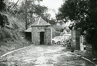 """1973 Looking at the back of the entrance gates to """"The Pines"""", in Runyon Canyon"""