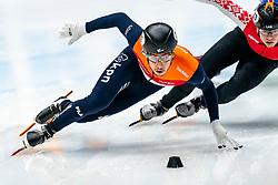 Dylan Hoogerwerf in action on the 500 meter during ISU World Cup Finals Shorttrack 2020 on February 14, 2020 in Optisport Sportboulevard Dordrecht.