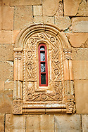 """Picture & image of the exterior geometric reief sculpture architectural details of Betania (Bethania ) Monastery of the Nativity of the Mother of God Georgian Orthodox complex, Georgia.<br /> <br /> Betania (Bethania ) Monastery of the Nativity of the Mother of God is a 11th century church with a cruciform ground plan and dome in the style of Georgian Orthodox church  architecture of the """"Golden Age"""" of the Kingdom of Georgia. .<br /> <br /> Visit our MEDIEVAL PHOTO COLLECTIONS for more   photos  to download or buy as prints https://funkystock.photoshelter.com/gallery-collection/Medieval-Middle-Ages-Historic-Places-Arcaeological-Sites-Pictures-Images-of/C0000B5ZA54_WD0s<br /> <br /> Visit our REPUBLIC of GEORGIA HISTORIC PLACES PHOTO COLLECTIONS for more photos to browse, download or buy as wall art prints https://funkystock.photoshelter.com/gallery-collection/Pictures-Images-of-Georgia-Country-Historic-Landmark-Places-Museum-Antiquities/C0000c1oD9eVkh9c"""