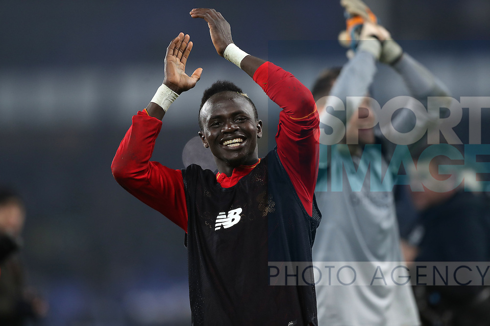 Sadio Mané of Liverpool celebrates after the English Premier League match at Goodison Park, Liverpool. Picture date: December 19th, 2016. Photo credit should read: Lynne Cameron/Sportimage