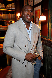 LONDON, ENGLAND - APRIL 07: Sol Campbell attends the reveal of Gerald Scarfe's exclusive artwork at Scarfes Bar, Rosewood London on April 7, 2014 in London, England.  (Photo by Mike Marsland/WireImage for Rosewood Hotels and Resorts)